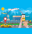 cityscape and airport with cab phone taxi app vector image