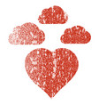 cloudy love heart grunge texture icon vector image