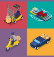isometric delivery concept freight transportation vector image