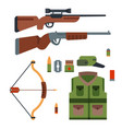 hunting weapons and symbols design elements flat vector image vector image