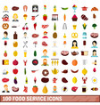 100 food service icons set flat style vector image