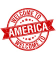 welcome to America red round ribbon stamp vector image