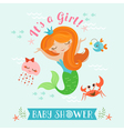 Mermaid baby shower vector image
