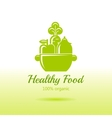 Healthy organic food logo icon with fresh fruits vector image