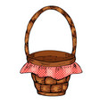 picnic basket isolated on white background vector image