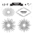 Set of Vintage Sun Burst monochrome light rays vector image