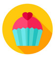 sweet cupcake circle icon vector image