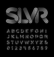 Silver font alphabet with chrome effect letters vector image