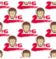 2016 seamless pattern with monkey head and vector image