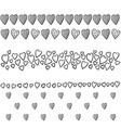 Set of borders with hearts vector image