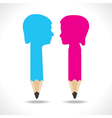 Male and female face make a pencil vector image
