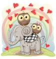 Cute Cartoon Elephant and Two Owls vector image