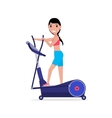 cartoon girl on elliptical cross trainer vector image