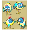 Set of cartoon doodle birds icons vector image