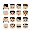 square shape funny expression cartoon head vector image