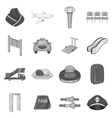 Airport icons set black monochrome style vector image