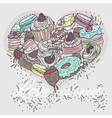 Cute heart from sweets vector image vector image