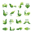 set of green design elements vector image