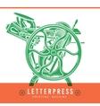 Letterpress overprint design Vintage vector image
