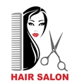 hair salon icon with girl scissors and comb vector image vector image