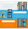 Data center and hosting banners set vector image