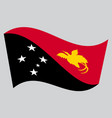 flag of papua new guinea waving on gray background vector image