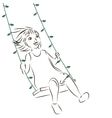Girl on the swing vector image