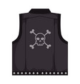 motorcyclist vest with skull icon vector image