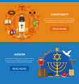 religions banner set vector image
