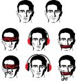 mans face in different versions vector image vector image