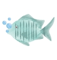 hand drawing tropical fish sea habitat bubbles vector image
