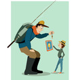 Family fishing in a digital age vector image