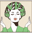 Woman with curlers in their hair Pop Art vector image