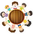 Boys and girls circle around vector image