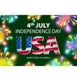 happy july 4th firework green background vector image