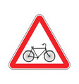 attention cyclist bicycle on red triangle road vector image
