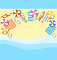 beach seashore with waves chaise lounge vector image