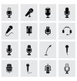 black microphone icon set vector image