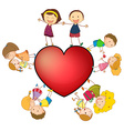 Children and heart vector image