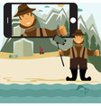 Concept flat design with fisher and selfie stick vector image