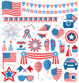 USA celebration flat national symbols set for vector image