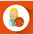 headphones music character girl blonde vector image