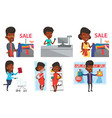 set of shopping people characters vector image