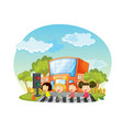children crossing the road in front of school vector image vector image