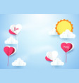 heart shape balloons with sun background vector image