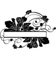 Floral banner black stencil vector image
