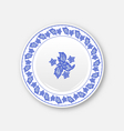White plate with hand drawn floral ornament bezel vector image