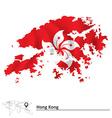 Map of Hong Kong with flag vector image vector image