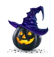 Black Halloween pumpkin with orange light vector image