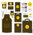 coffee house template set with memphis pattern vector image